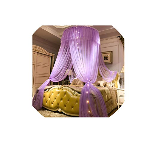 Princess Style Hung Dome Mosquito Net Round Lace Curtain for Home Textile Bed Canopy Crib Polyester Mesh Tent Girls,Purple,1.5m (5 feet) Bed (1 Regency Bulb)