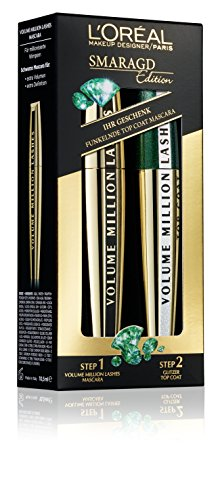 L'Oréal Paris Volume Million Lashes Mascara, schwarz - Wimperntusche für extra Definition und extra Volumen + funkelnder Top Coat, smaragd - 1er Pack Set Smaragd-Edition (2 x 9 ml)