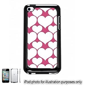 Pink White Hearts Love Monogram Pattern Apple iPod 4 Touch Hard Case Cover Shell Black 4th Generation