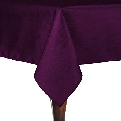 Ultimate Textile (10 Pack) Reversible Shantung Satin - Majestic 72 x 72-Inch Square Tablecloth - for Weddings, Home Parties and Special Event use, Aubergine Eggplant by Ultimate Textile
