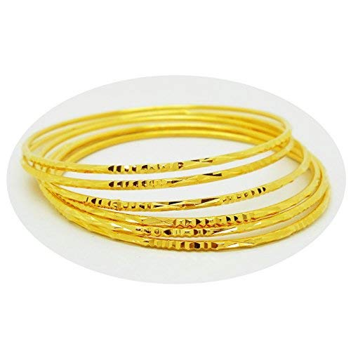 - Set of 6 Multiple Bracelets Bangle 18k 22k 23k 24k Thai Baht Yellow Gold Plated
