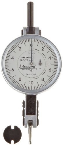 Brown & Sharpe TESA 74.111368 Interapid 312 Dial Test Indicator, Horizontal Type, M1.7x4 Thread, 2mm Stem Dia., White Dial, 0-10-0 Reading, 37.5mm Dial Dia., 0-0.4mm Range, 0.002mm Graduation, +/-0.004mm Accuracy
