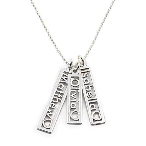 AJ's Collection Personalized Triple Open Name with Heart Cut Out Rectangle Sterling Silver Charm Necklace. Customize Three Rectangle Charms. Choice of Sterling Silver Chain. Shiny, Elegant, Classy