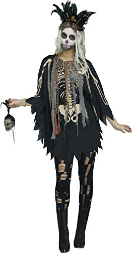 Voodoo Woman Halloween Costume (Fun World Women's Voodoo Poncho, Multi, One)