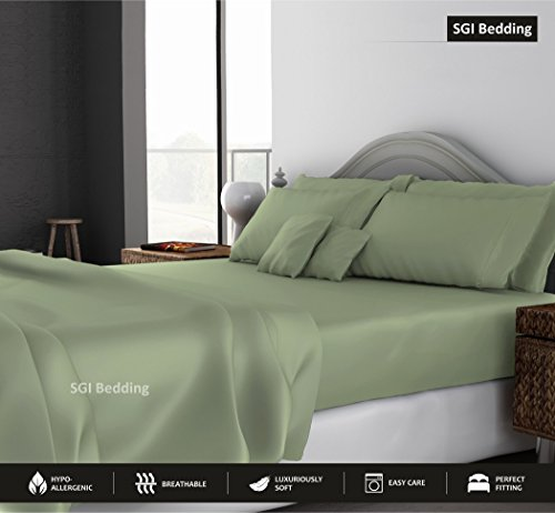 QUEEN SHEETS LUXURY SOFT 100% EGYPTIAN COTTON - Sheet Set for Queen Mattress Sage SOLID 15 Deep Pocket # Exotic Bedding Collection