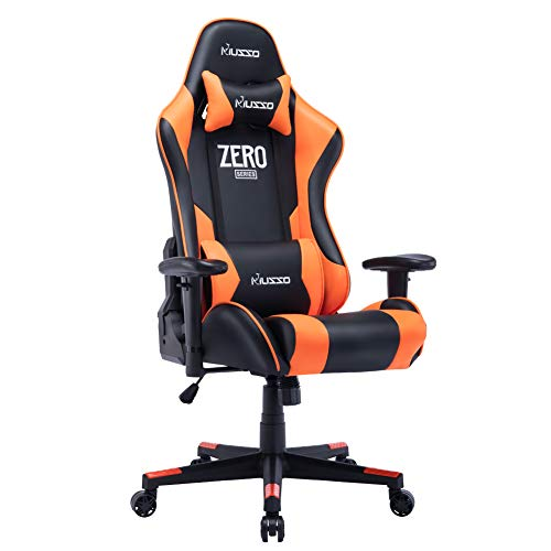 Musso Gaming Chair Adjustable Esports Desk Chair, Premium PU Leather High-Back Large Size Executive Office Chair (Black&Orange)
