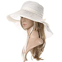 Siggi Summer Bill Flap Cap UPF 50+ Cotton Sun Hat with Neck Cover Cord for Women