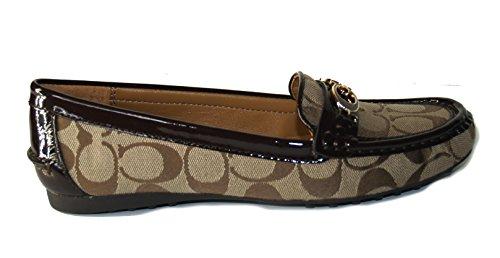 25c8724a6f6 delicate Coach Fortunata 12CM Signature Loafer Shoes Khaki Chestnut ...
