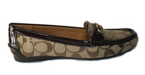 Coach Fortunata 12CM Signature Loafer Shoes Khaki Chestnut 7.5 M sJ8YviN5e
