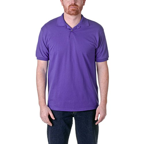 Hanes Men's EcoSmart Comfortsoft Blended Jersey Sport Polo Shirt, Purple, (50 Blended Jersey Polo)
