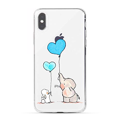 HUIYCUU Case Compatible with iPhone Xs for iPhone X Case, Colorful Animal Design Print Shockproof Soft Protective Back Case for Girl Women Cute Funny Pattern Clear Cover, Bunny Elephant