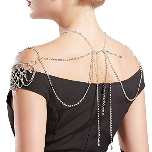 BABEYOND Vintage Bridal Shoulder Chain Crystal Necklace Chain Crystal Body Chain Jewelry for Wedding Party