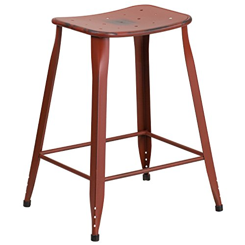 Flash Furniture 23.75'' High Distressed Kelly Red Metal Indoor-Outdoor Counter Height Saddle Comfort Stool by Flash Furniture