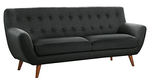 Homelegance Anke Button Tufted Danish Style Sofa with Flare Arms, Dark Grey