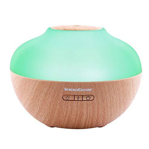 InnoGear 2019 Premium 300ml Aromatherapy Essential Oil Diffuser Wood Grain Ultrasonic Cool Mist Humidifier with 7 Color LED Lights Waterless Auto Shut-off for Home Office Bedroom Yoga Spa