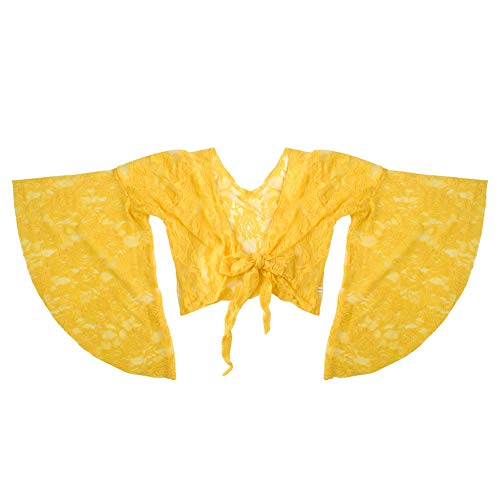 BellyLady Tribal Belly Dance Lace Butterfly Sleeve Wrap Top, Top for Christmas-Yellow ()