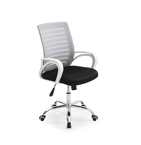 Hodedah Mesh Office Chair with Adjustable Height, Swivel Functionality and Arms, Grey