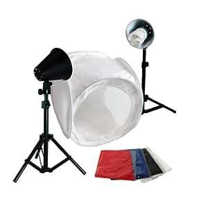 "LimoStudio Photography Photo Studio 30 Inch Light Tent Kit, 1 x 30"" x 30"" Table Top Light Tent, 2 x 45 Watt 6500K Daylight Fluorescent Light Kit, 4 x Backgrounds - White Black Blue Red, AGG379"