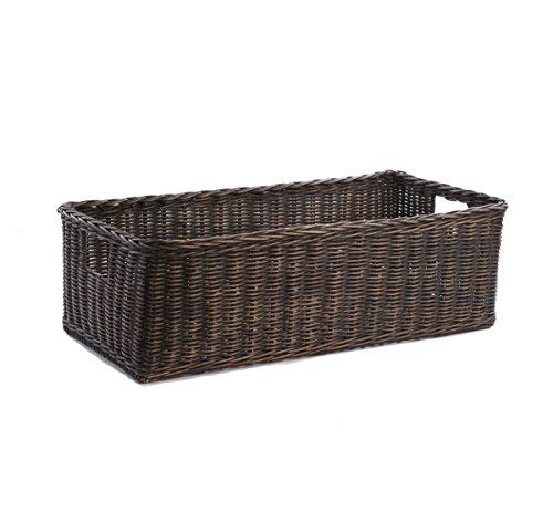 The Basket Lady Long Low Wicker Basket, Large, Antique Walnut Brown