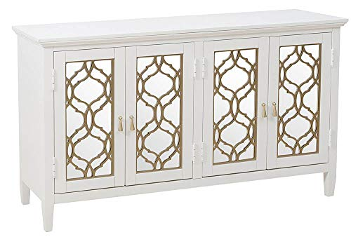 - Pulaski 4-Door Mirror Front Console in White and Silver
