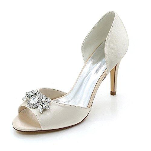 L@YC Damenschuhe Bequeme Hochzeitsschuhe Feiner absatz Peep Toe Night Wedding & Multicolor Champagne
