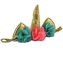 QtGirl Unicorn Horn Headband Ears Flower Elastic Hairband Cosplay Costume