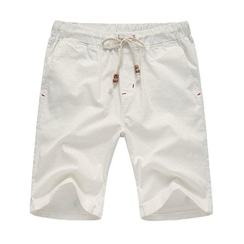 Men's Linen Casual Classic Fit Flat Front Drawstring Cotton Shorts