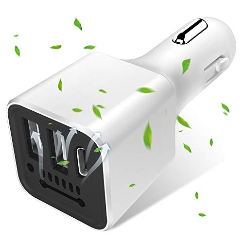 (Car Charger Flush Fit 3.1A Dual USB & Type C Port, Runostrich Anion Air Purifier Universal Charger Compatible iPhone Xs XS Max XR X 8 7 Plus, iPad Pro Air Mini, Galaxy S9 S8 S7 S6 Edge Note (White))
