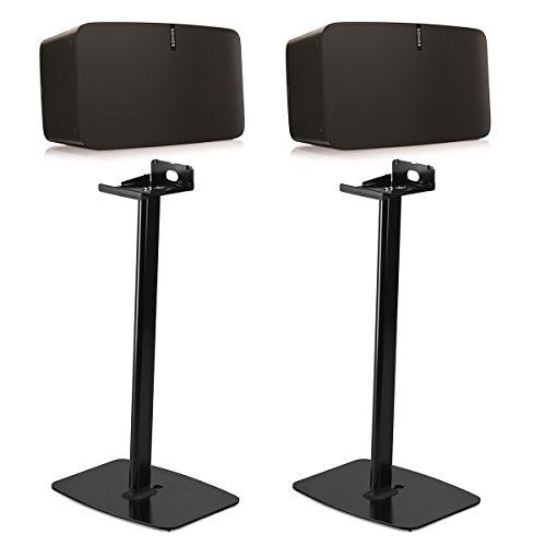 Sonos PLAY:5 Wireless Smart Speakers with Flexson Horizontal Floor Stands - Pair (Black) by Sonos