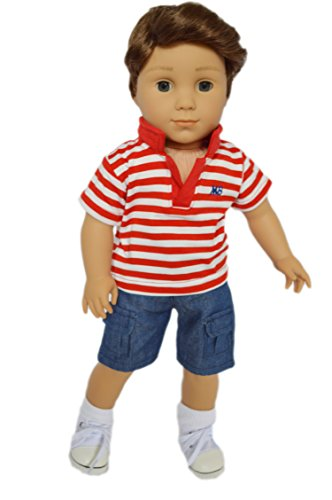 Brittanys My Red Polo Set Compatible with American Girl Boy Dolls- 18 Inch Boy Doll Clothes