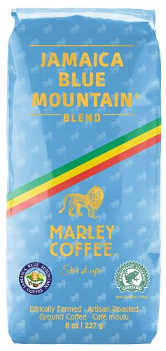 Blue Mountain Ground Coffee (Marley Coffee Smile Jamaica, Jamaica Blue Mountain Blend Ground Coffee, 8 Ounce)