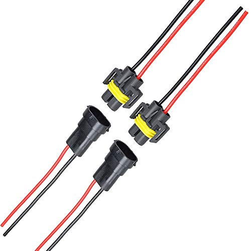 MUYI 2 Sets H11 H8 Adapter Female and Male Connector Pigtail Socket Wiring Harness for Headlight Fog Light