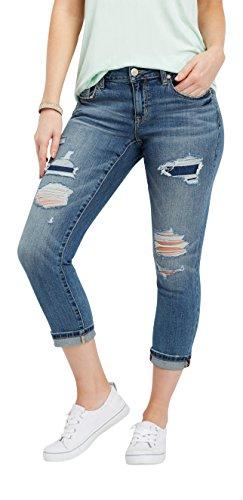 Boyfriend Crop Pant - maurices Women's Denimflex Destructed Boyfriend Crop Jean 15/16 Medium Sandblast