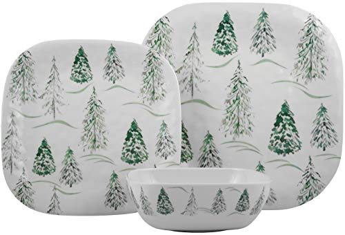 Melange 608410091986 12-Piece 100% Dinnerware Set for 4 Christmas Collection-Wild Xmas Trees Shatter-Proof and Chip-Resistant Melamine Dinner Plate, Salad Plate & Soup Bowl (4 Each), 10.5