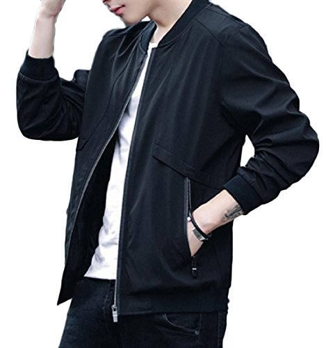 Autumn New Men Slim Baseball Uniform Jacket(Black) - 4