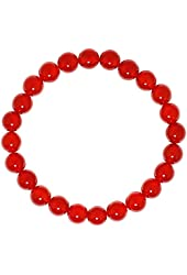 Natural Genuine Red Onyx Gem Beads, maxin Bling Jewelry 8MM elastic Stretch Loose Bracelet Set ,Unisex