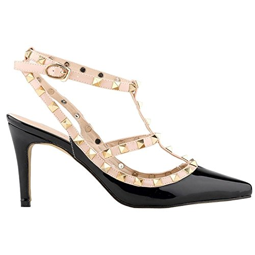 ArcEnCiel Women's Shoes Buckle Studded Pointed Toe High Heel Sandals Black zlwG5d1