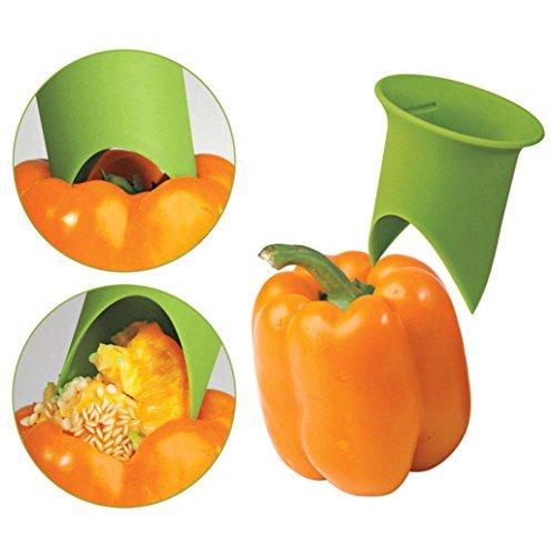 Sujing Tomato Cutter Corer Slicer Fruit Vegetable Peeler Chili Pepper Corer Fruit Corer Remover Vegetable Seeder Corer - 2 pcs/set (green)