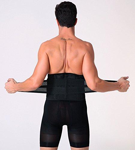 1951896389 Panegy Men s Waist Trimmer Belt Elastic Lumbar Lower Back Tranier Support  Brace Band Body Shaper Size