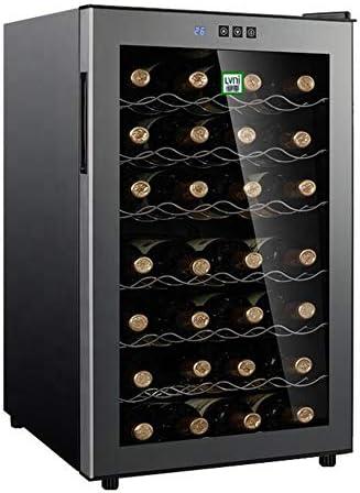YUTGMasst Nevera Vino - Vinotecas 28 Botellas,Vinos Refrigerator con LCD, 39 Db En Funcionamiento, Puerta Vidrio, Ajuste 12 A 18 ° C, Pequenas Wine Cellar Eléctrico Temperaturas con Puerta Cristal