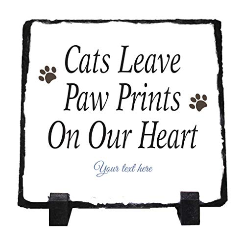 Custom Home Decor Stone Slate Plaque Paw Print Memorial Cats Leave Pa... Photo Picture Frame