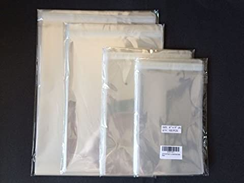 400 Pcs Clear Resealable Cello Cellophane Bags : 4 sizes. 100 each: 6x9, 8x10, 9x12, 10x13 (by UNIQUEPACKING)
