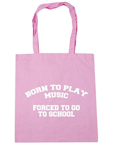 HippoWarehouse Born to Play música obligado a ir a la escuela bolso de compras bolsa de playa 42cm x38cm, 10litros Classic Pink