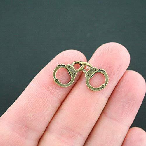 8 Handcuffs Charms Antique Bronze Tone 2 Sided Jewelry Making Supply, Pendant, Bracelet, DIY Crafting and Other by Wholesale Charms from Wholesale Charms