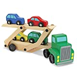 Melissa & Doug Car Carrier Truck & Cars Wooden Toy Set (Compatible with Wooden Train Tracks, Quality Wood Construction, Great Gift for Girls and Boys - Best for 3, 4, 5, and 6 Year Olds)