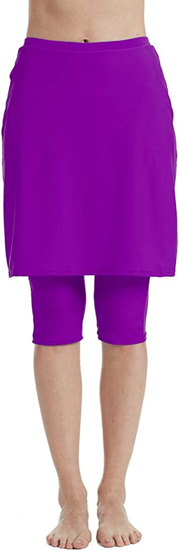Swimming Tight with Attached Skirt Sport Leggings Micosuza Womens Skirted Swim Capris Sun Protective UPF 50