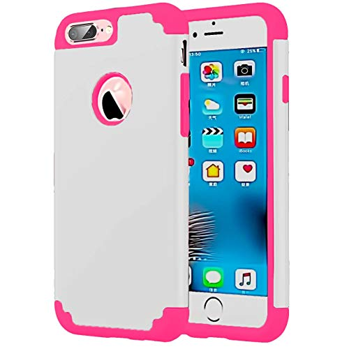 (Compatible with iPhone 8/7 Plus 5.5inch Case,Shockproof Heavy Duty Protection Hard Plastic+Silicone Rubber Hybrid Protective Phone Case-White)
