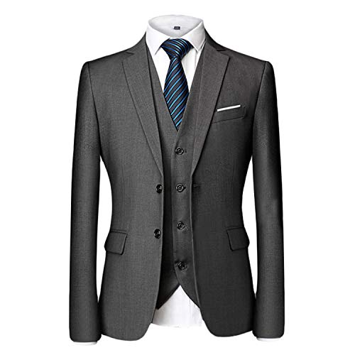 MAGE MALE Men's 3 Pieces Suit Elegant Solid Two Button Slim Fit Single Breasted Party Blazer Vest Pants Set (Grey, XL)
