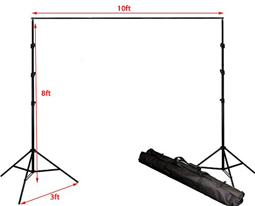 ePhotoInc 8.5ft x 10ft Photography Studio Backdrop Photo Video Support System 2 Background Stands 4 Adjustable Cross Bars Carrying Case Kit GG804 by ePhoto
