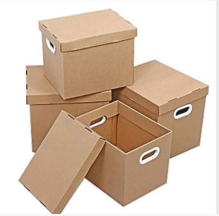 LHY SAVE Cajas De Almacenajeembalaje De Almacenamiento De Cartón Cajas De Casas Móviles Acanalado con Asa para El Hogar, Oficina, Casa Móvil, 4 Paquetes,L: Amazon.es: Hogar